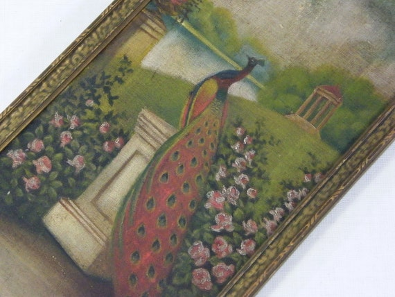 Antique Peacock Oil Painting