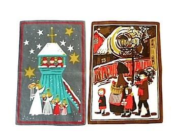 Vintage Screenprint Linen Tea Towels ... Christmas Scenes, Elves, Winter, Holiday, Angels, Woman and Children, Modern Textile, Fabric, Stars