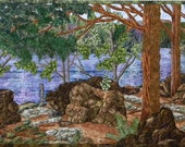 Award-winning Landscape Quilt with Lake, Woods, Forest, Rocks, Boulders, Trees, Pine Needles (out on exhibit until 8/25.)