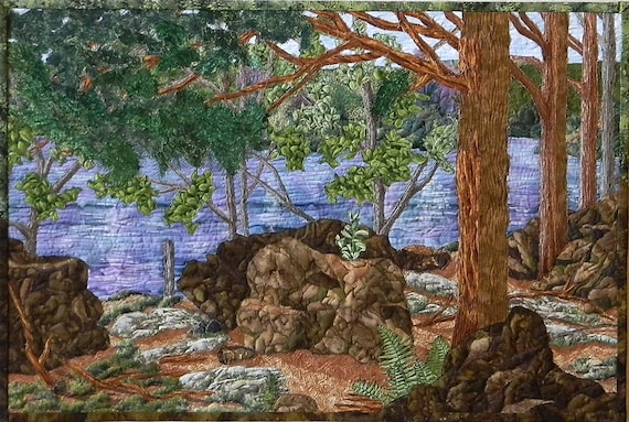 Award Winning Landscape Quilt With Lake Woods Forest Rocks