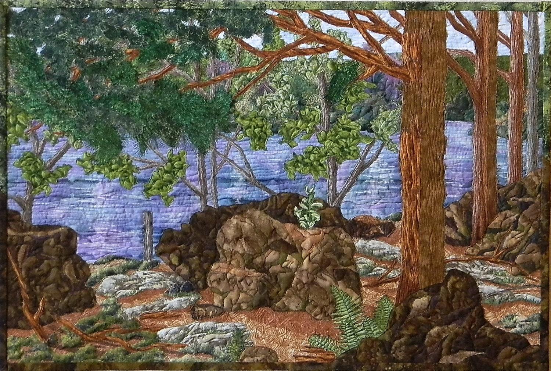 Award Winning Landscape Quilt With Lake Woods Forest Rocks