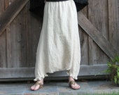 SALE WAS 110. NOW 59. sareoul Thai fisherman linen boho tribal skirt/pant or is it a pant/skirt ready to ship