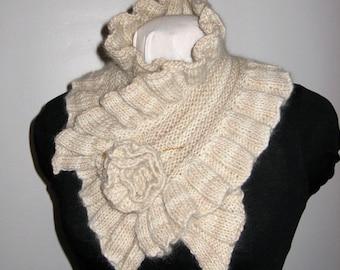 Hand Knit Cowl, Ruffled Edges, Knitted Rose Shawl Pin, Cream Beige, Baby Alpaca, Merino Wool, Extremely Soft, Elegant Fashion Scarf, Gift