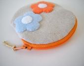 Zipper Coin Purse/Felt Flower