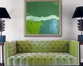 "original abstract painting modern fine art on canvas - large original painting 36""x36"" - green gold"