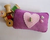 Novelty Pincushion - Purple Pincushion with Heart and Thimble - OOAK - Sewing Accessories