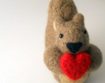 Squirrel Holding Heart - Felted Animal Miniature - Soft Sculpture
