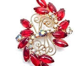 ON SALE What a Beauty Juliana Ruby Red and Aurora Brooch