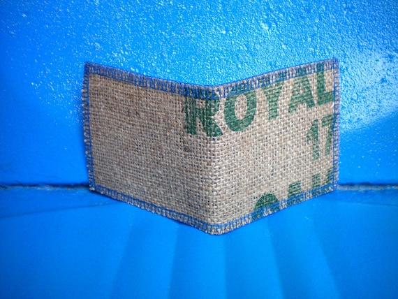 Vegan Wallet, UpCycled Burlap Wallet- Made From Coffee Bean Sacks- Ready to ship- slim- minimal - burlap -jute -natural-tan- blue