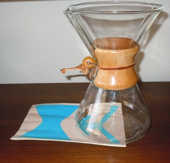 Vintage Chemex Coffee Maker with Original 10-Page