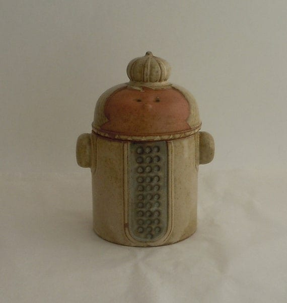 Vintage Mid-Century Stoneware Lidded Jar Queen Wearing a Crown