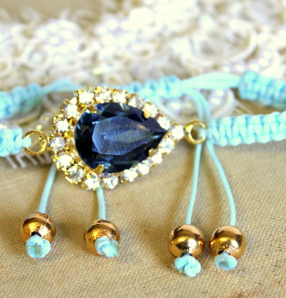Crystal blue braided Friendship bracelet with real swarovski rhinestones