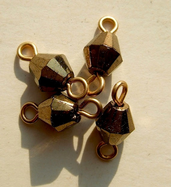 BWB Exquisite Well Crafted Bronzey Bicone Wired Dangles Connectors (10)
