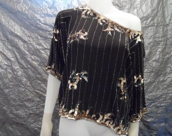 Vintage Glam Black Silk 80's Top w/ Beading & Sequins  M