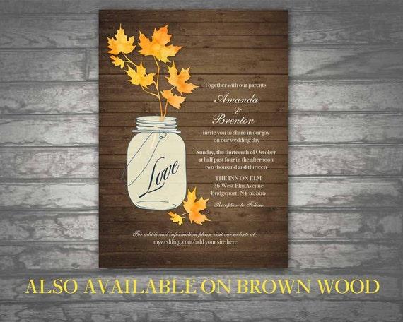 Rustic Fall Wedding Invitations: Fall Wedding Invitations Rustic Mason Jar By NotedOccasions