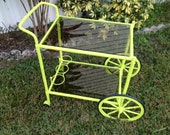 Vintage Lime Green Serving cart (Holds 3 Wine Bottles)