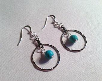 Turquoise Hoop Earrings - Turquoise Jewelry - Silver Jewellery - Gemstone Jewelry - Handmade - Fashion - Gift