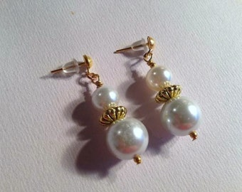 Pearl Earrings - Pearl Jewelry - Bridal Jewelry Wedding Jewellery Gold Bride Bridesmaid White Pierced Unique Fashion Everyday Gift Classic