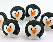 Penguins Drawing Pins  / Magnet / Fabric Covered Button Bird Thumbtacks Sparkly /  Pushpins / Craft Button / Office Decoration  9