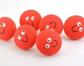 HAPPY SMILE  :) Push Pin /  Magnet  /  Pushpins / Red Fabric Covered Button /  Thumbtacks / Work Station Decor / Coworker Gift - Be Happy