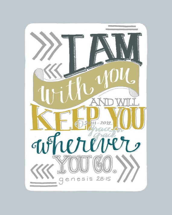 8x10 Giclee Print- Christian Art - I Am With You and Will Keep You - Hand Typography, Bible Verse Art, Blue, Mustard
