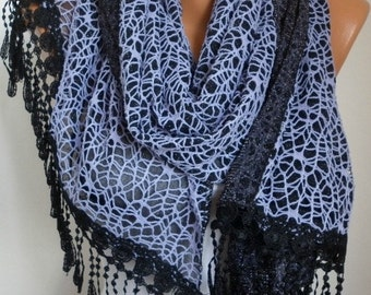 Lilac Filet Black Tulle Scarf - shawl -  women scarves,gift ideas for her