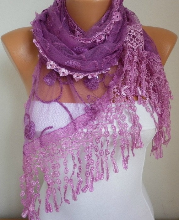 Purple  Lace Scarf  Oversize Scarf Shawl Bridesmaid Gift For Her Women Fashion Accessories  fatwoman