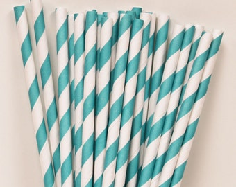Paper Straws, 25 AQUA Striped Paper Drinking Straws with DIY printable flags, Retro Paper Straws, Birthday Party Straws, Wedding Drink Bar