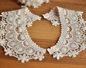 Lace Fabric Doily Trim -  Floral Crochet Neck Shirt Collar Blouse Doily Applique