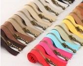 Copper Short Zippers - Scallop Clothes Purse Bags Metal Zipper Trim DIY Fabric Crafts 3 Pcs - 7.9 Inches