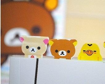 3Sets Korea Pretty Paper Deco Index Sticker  - Deco Sticker Set - Relaxed Bear