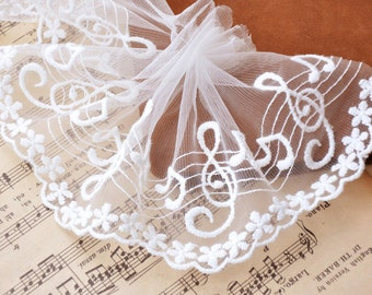 3 Yards Embroidery Music Cotton Embroidery Lace Gauze 11cm Wide