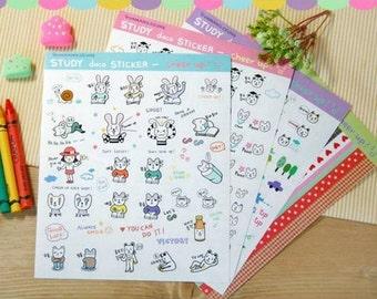 4 Sheets Korea Pretty Sticker Set - Deco Translucent Sticker Set