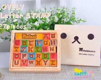 27 Kinds Korea DIY Woodiness Rubber Stamp-Loveiy Letter Stamp