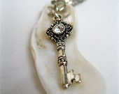 "Key Charm Necklace With White Shell ""You Found The Key To My Heart"""