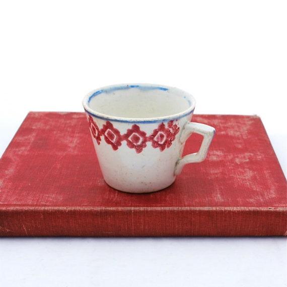 Antique Children's Cup Spongeware Red Blue on White