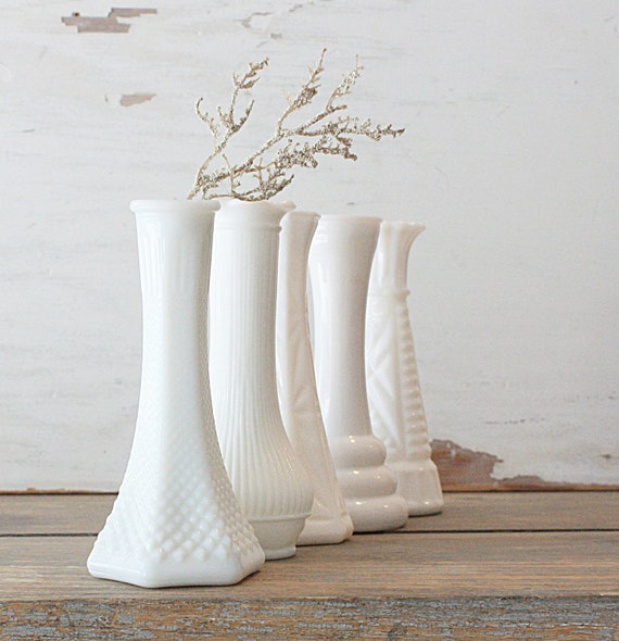 Small Milk Glass Vase Collection Set of Five