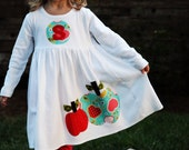 Fall Applique Dress - Toddler Dress or Girl's Dress- Personalized Dress with Apple Appliques -Choose Dress Color and Sleeve Length
