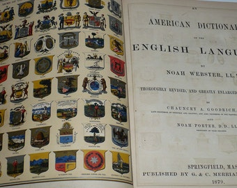 Dictionary, Noah Webster, 1875, Leather Book, Reference Books, Antique Books, Vintage Books, Old Books, Collectible Books,