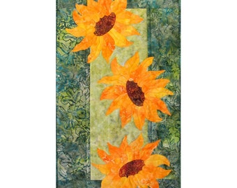 Breezy Sunflowers Quilt ePattern 4384-10, flower wall quilt pattern, appliqued wall quilt pattern