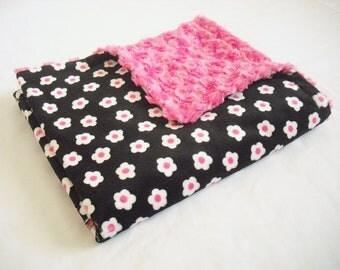 Flower Minky Baby Blanket with Fuchsia Minky Swirl - Minky Baby Blanket - Baby Girl Blanket - Crib Blanket - Baby Girl Stroller Blanket