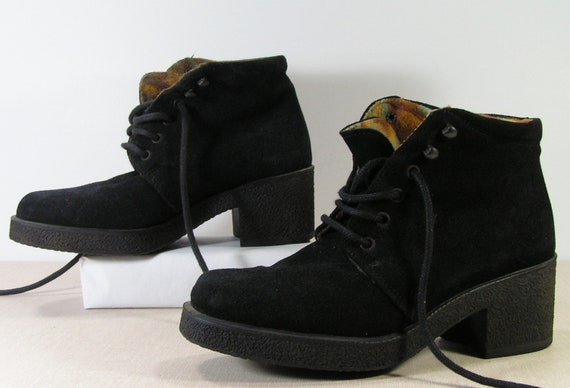 insulated ankle boots womens 6.5 b m black suede leather granny booties shoes italian