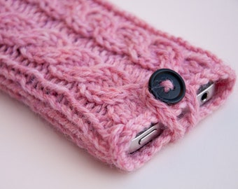 Strawberries & Cream Pink Double Cable Knit iPhone Case (iPhone 3/4/4S/5/5S/5C/6/6+/7/7+)