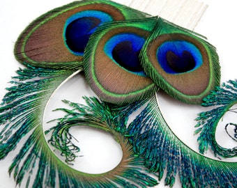Optimistic - Peacock hair comb  / Peacock feather fascinator / Peacock feather hair comb