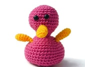 Amigurumi crochet duck toy baby plush crocheted duck doll dusky pink
