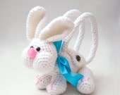 Bunny bag crochet animal bag rabbit purse childs handbag Biggles the bunny rabbit with button fastener