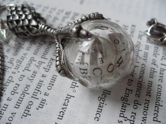 The Capture of Shakespeare within an orb of Evil forever Holding his works - Necklace - Silver - Glass - orb - Paper - Claw