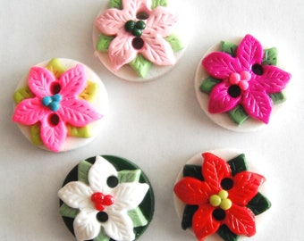 Button Poinsettia pick your color handmade polymer clay buttons ( 5 )