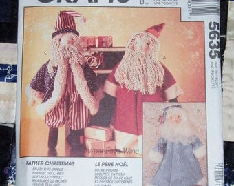 Cute Vintage McCall's Craft Pattern 5635, Father Christmas Stuffed Doll, Uncut, Factory Folds