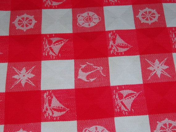 "1950s Vintage Red and White Simtex Nautical Theme Cotton Woven Tablecloth 46"" x 48 1/4"" cutter"
